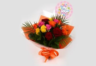 Its a Girl Balloon & Roses Galore Bouquet - FREE DELIVERY