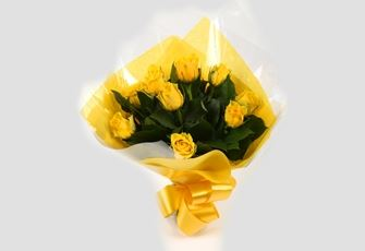 12 Yellow Roses Bouquet - FREE DELIVERY