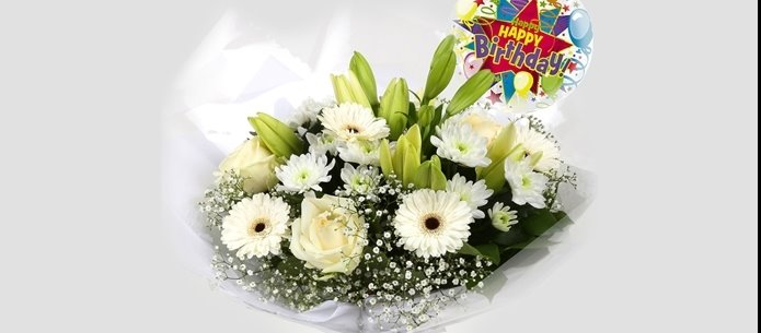 Birthday Balloon & White Petite Bouquet - FREE DELIVERY