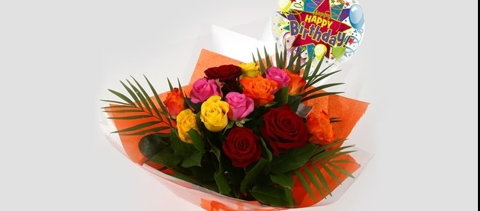 Birthday Balloon & Roses Galore Bouquet - FREE DELIVERY