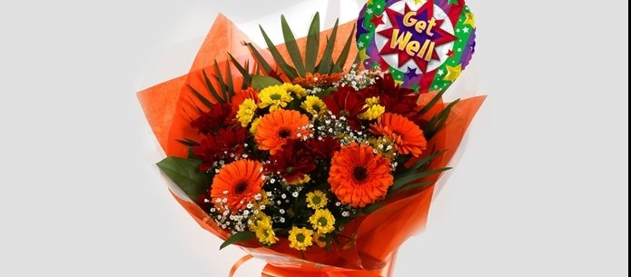 Get Well Balloon & Red Fall Bouquet - FREE DELIVERY-Clear Savings-Clear Prices-Compare The Quaility