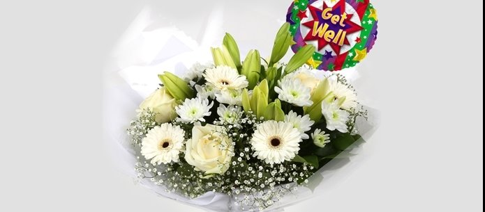 Get Well Balloon & White Petite Bouquet - FREE DELIVERY