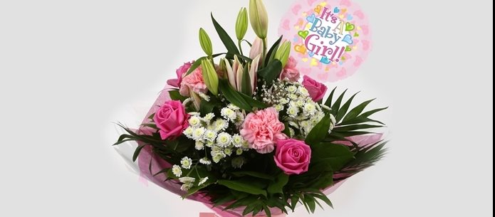 Its a Girl Balloon & Strawberry Sundae Bouquet - FREE DELIVERY