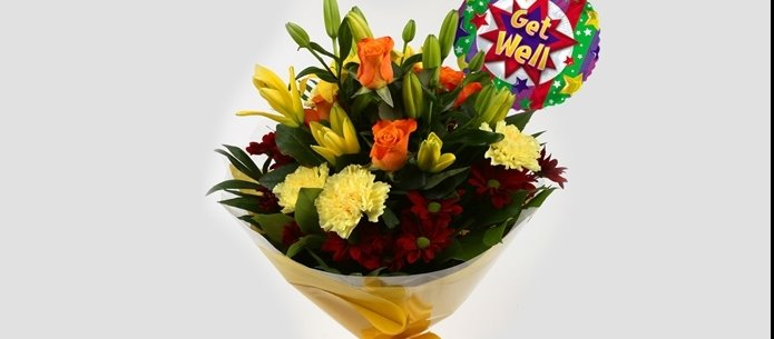 Get Well Balloon & Red Sunshine Bouquet - FREE DELIVERY