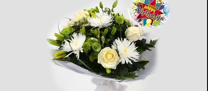 Birthday Balloon & Golden Cream Bouquet - FREE DELIVERY
