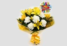 Birthday Balloon & Golden Sunshine Bouquet-Clear Savings-Clear Prices-FREE DELIVERY