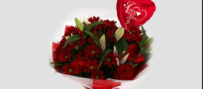 Love You Balloon & Red Roses Lilly Bouquet - FREE DELIVERY