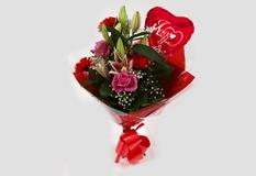 Love You Balloon & Pink Oriental Bouquet-FREE DELIVERY
