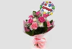 Congrats Balloon & Strawberry Pink Blush Bouquet  - FREE DELIVERY