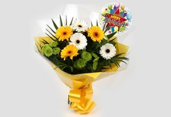 Birthday Balloon & Yellow Cream Bouquet - FREE DELIVERY