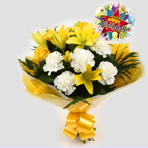 Birthday Balloon & Golden Sunshine Bouquet-Clear Savings-Clear Prices