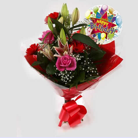 Birthday Balloon & Pink Oriental Bouquet - FREE DELIVERY