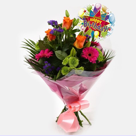 Birthday Balloon & Melody Bouquet - FREE DELIVERY