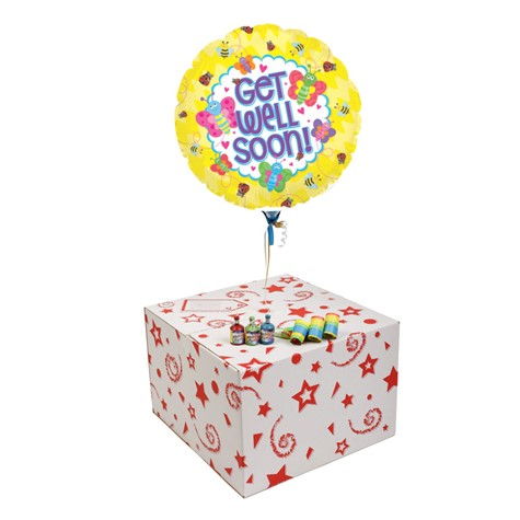 GET WELL SOON BUGS-GIFT BOXED -FREE PARTY POPPERS & BLOW HORNS