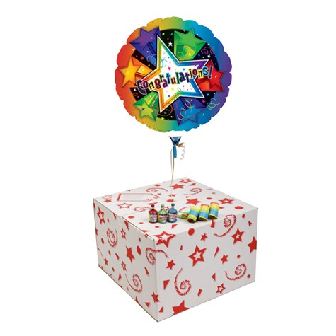 CONGRATULATIONS 3D STARS-GIFT BOXED-COMES WITH FREE PARTY POPPERS & BLOW HORNS