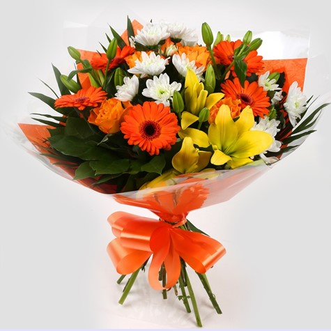 Orange Burst Bouquet- FREE DELIVERY-Clear Savings-Clear Prices-Compare The Quaility