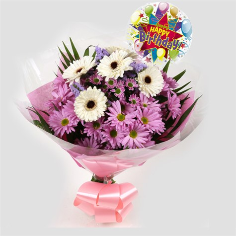 Birthday Balloon & Pink Santini Bouquet-FREE DELIVERY