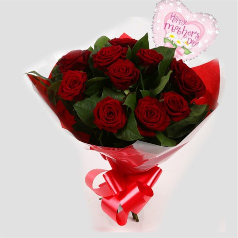 Mothers Day Balloon & 12 Red Roses-FREE DELIVERY