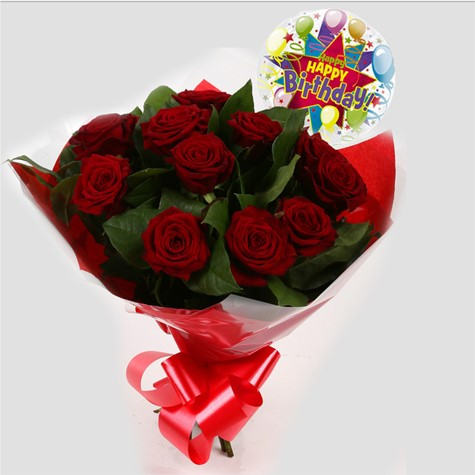 Birthday Balloon & 12 Red Roses Bouquet-FREE DELIVERY