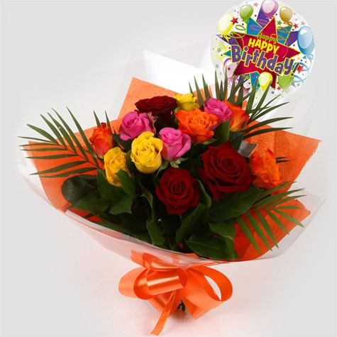 Birthday Balloon Roses Galore Bouquet FREE DELIVERY