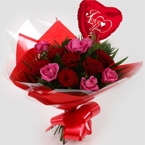 Love You Balloon Blush Roses Bouquet Free Delivery