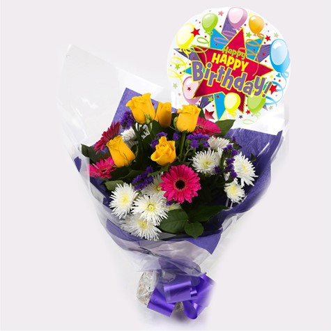 Happy Birthday Balloon Starburst Bouquet Clear Savings Prices FREE DELIVERY