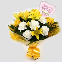 Mothers Day Balloon & Golden Sunshine Bouquet-FREE DELIVERY