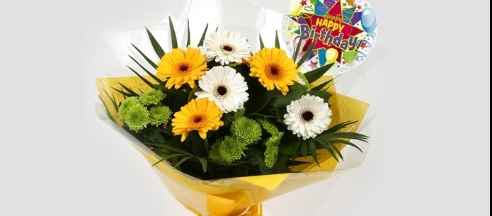 alternative image for Birthday Balloon & Yellow Cream Bouquet - FREE DELIVERY