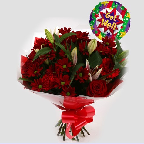 Get Well Balloon & Red Rapture Bouquet-FREE DELIVERY