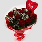 Love You Balloon & 12 Red Roses With Gypsophila - FREE DELIVERY