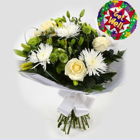Get Well Balloon & Golden Cream Bouquet-FREE DELIVERY