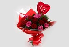 Love You Balloon & Blush Roses Bouquet-FREE DELIVERY