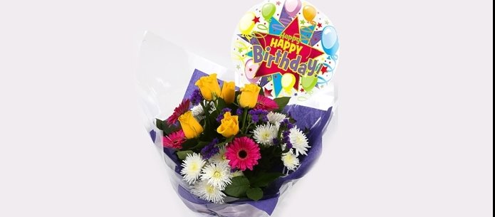 Happy Birthday Balloon & Starburst Bouquet -Clear Savings-Clear Prices