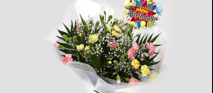 Birthday Balloon & Joyful Bouquet-Clear Savings-FREE DELIVERY