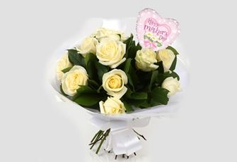 Mothers Day Balloon & 12 White Roses - FREE DELIVERY