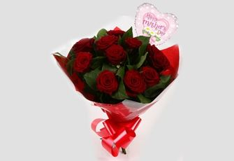 Mothers Day Balloon & 12 Red Roses - FREE DELIVERY