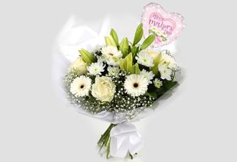 Mothers Day Balloon & White Petite Bouquet - FREE DELIVERY