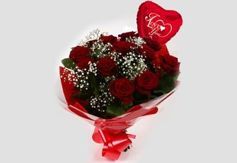 Love You Balloon & 12 Red Roses With Gypsophila-FREE DELIVERY