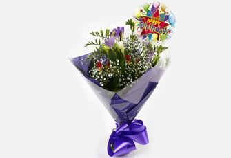 Birthday Balloon & Freesias Gypsophila Bouquet-FREE DELIVERY