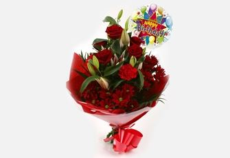 Birthday Balloon & Red Roses Lilly Bouquet-FREE DELIVERY