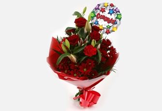 Congrats Balloon & Red Roses Lilly Bouquet - FREE DELIVERY