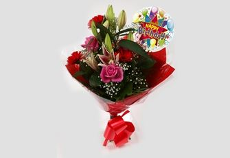 Birthday Balloon & Pink Oriental Bouquet-FREE DELIVERY