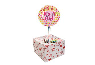 ITS A GIRLS COLOURFUL DOTS-GIFT BOXED-FREE PARTY POPPERS & BLOW HORNS