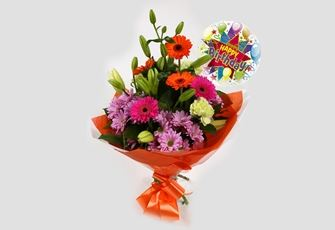 Birthday Balloon & Colour Burst Bouquet-FREE DELIVERY