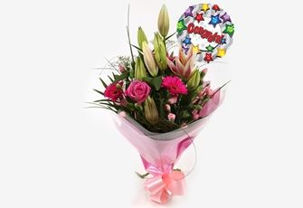 Congrats Balloon & Pink Florence Bouquet-FREE DELIVERY