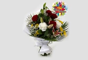 Birthday Balloon & Scarlett Bouquet-FREE DELIVERY