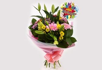 Birthday Balloon & Florist Meadow Bouquet-FREE DELIVERY