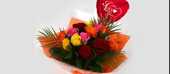 Love You Balloon & Roses Galore Bouquet-FREE DELIVERY
