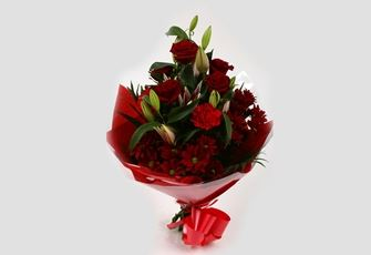 Red Roses & Lilly Bouquet-FREE DELIVERY