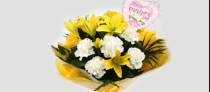 Mothers Day Balloon & Golden Sunshine Bouquet - FREE DELIVERY